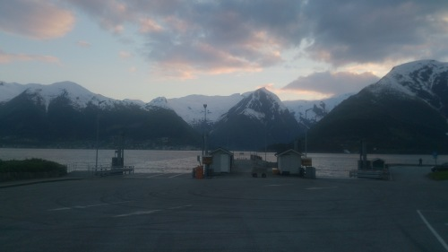 View of the mountains from one of the ferry crossings on the way to Vik